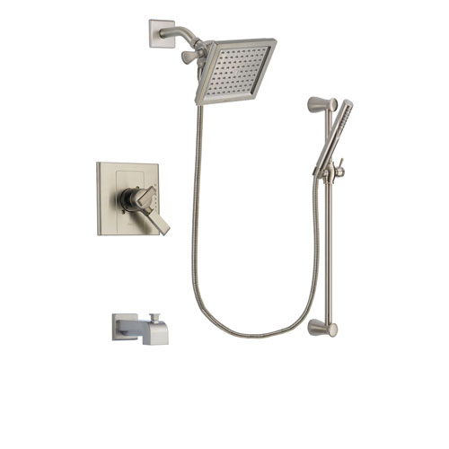 Delta Arzo Stainless Steel Finish Dual Control Tub and Shower Faucet System Package with 6.5-inch Square Rain Showerhead and Handheld Shower Spray with Slide Bar Includes Rough-in Valve and Tub Spout DSP2307V
