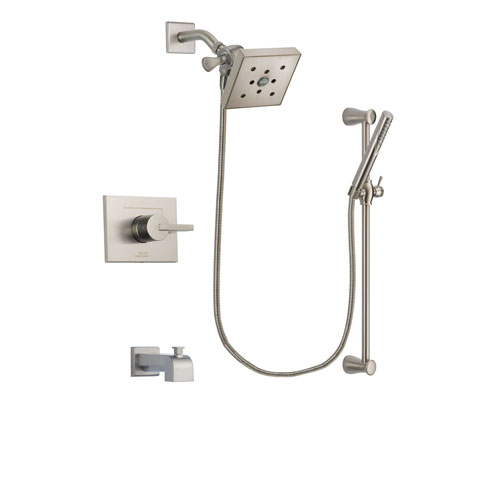 Delta Vero Stainless Steel Finish Tub and Shower Faucet System Package with Square Shower Head and Handheld Shower Spray with Slide Bar Includes Rough-in Valve and Tub Spout DSP2317V