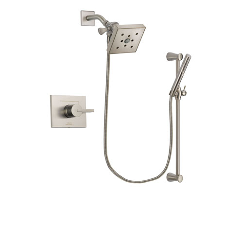 Delta Vero Stainless Steel Finish Shower Faucet System Package with Square Shower Head and Handheld Shower Spray with Slide Bar Includes Rough-in Valve DSP2318V