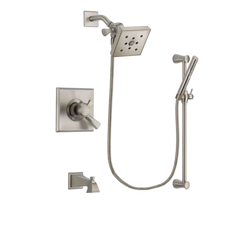 Delta Dryden Stainless Steel Finish Dual Control Tub and Shower Faucet System Package with Square Shower Head and Handheld Shower Spray with Slide Bar Includes Rough-in Valve and Tub Spout DSP2321V