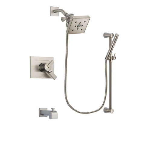 Delta Vero Stainless Steel Finish Dual Control Tub and Shower Faucet System Package with Square Shower Head and Handheld Shower Spray with Slide Bar Includes Rough-in Valve and Tub Spout DSP2323V