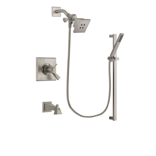 Delta Dryden Stainless Steel Finish Thermostatic Tub and Shower Faucet System Package with Square Showerhead and Modern Personal Hand Shower with Slide Bar Includes Rough-in Valve and Tub Spout DSP2327V