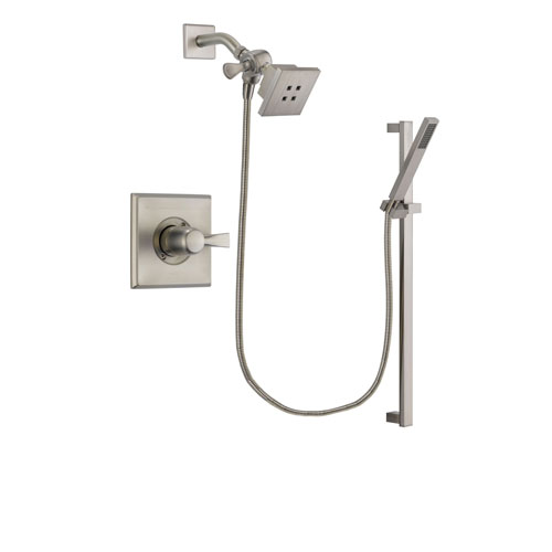 Delta Dryden Stainless Steel Finish Shower Faucet System Package with Square Showerhead and Modern Personal Hand Shower with Slide Bar Includes Rough-in Valve DSP2334V