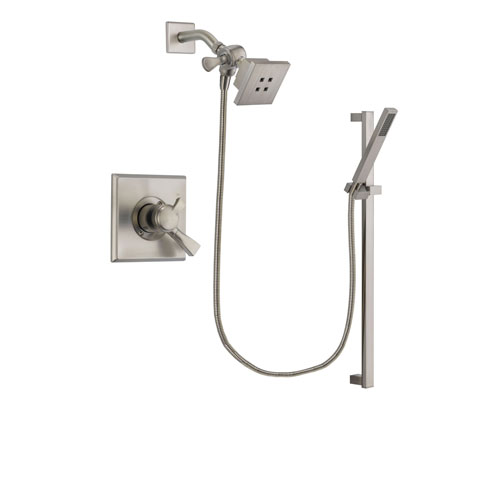 Delta Dryden Stainless Steel Finish Dual Control Shower Faucet System Package with Square Showerhead and Modern Personal Hand Shower with Slide Bar Includes Rough-in Valve DSP2340V