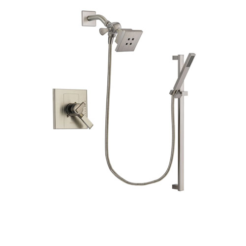 Delta Arzo Stainless Steel Finish Dual Control Shower Faucet System Package with Square Showerhead and Modern Personal Hand Shower with Slide Bar Includes Rough-in Valve DSP2344V