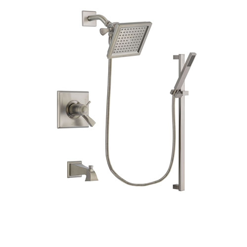 Delta Dryden Stainless Steel Finish Thermostatic Tub and Shower Faucet System Package with 6.5-inch Square Rain Showerhead and Modern Personal Hand Shower with Slide Bar Includes Rough-in Valve and Tub Spout DSP2345V