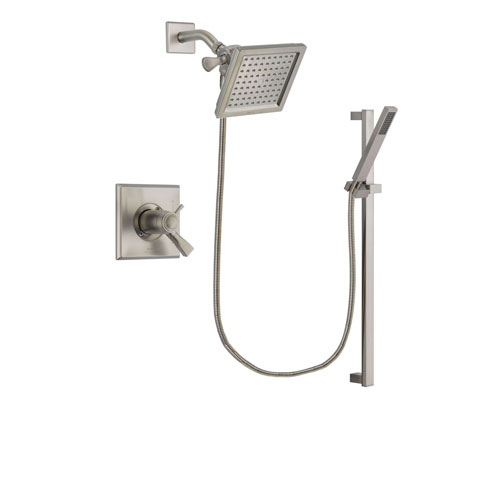 Delta Dryden Stainless Steel Finish Thermostatic Shower Faucet System Package with 6.5-inch Square Rain Showerhead and Modern Personal Hand Shower with Slide Bar Includes Rough-in Valve DSP2346V
