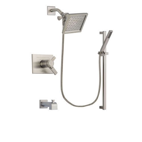 Delta Vero Stainless Steel Finish Thermostatic Tub and Shower Faucet System Package with 6.5-inch Square Rain Showerhead and Modern Personal Hand Shower with Slide Bar Includes Rough-in Valve and Tub Spout DSP2347V