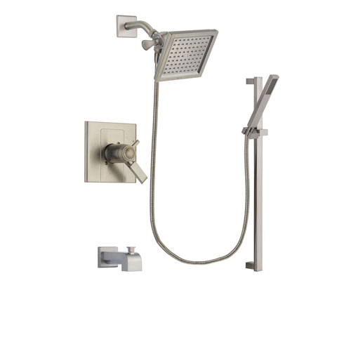 Delta Arzo Stainless Steel Finish Thermostatic Tub and Shower Faucet System Package with 6.5-inch Square Rain Showerhead and Modern Personal Hand Shower with Slide Bar Includes Rough-in Valve and Tub Spout DSP2349V