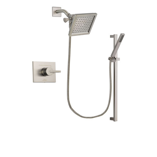 Delta Vero Stainless Steel Finish Shower Faucet System Package with 6.5-inch Square Rain Showerhead and Modern Personal Hand Shower with Slide Bar Includes Rough-in Valve DSP2354V
