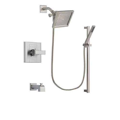 Delta Arzo Stainless Steel Finish Tub and Shower Faucet System Package with 6.5-inch Square Rain Showerhead and Modern Personal Hand Shower with Slide Bar Includes Rough-in Valve and Tub Spout DSP2355V