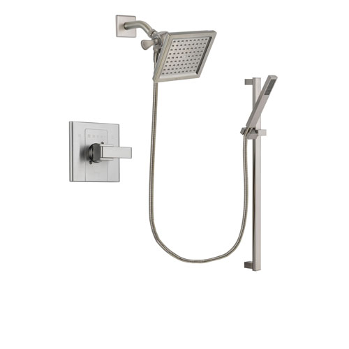 Delta Arzo Stainless Steel Finish Shower Faucet System Package with 6.5-inch Square Rain Showerhead and Modern Personal Hand Shower with Slide Bar Includes Rough-in Valve DSP2356V