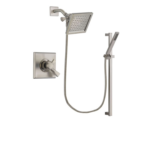 delta dryden stainless steel finish dual control shower faucet system package with 65inch square