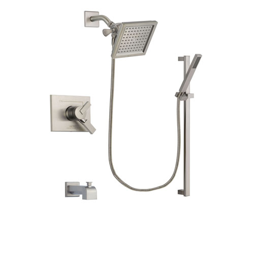 Delta Vero Stainless Steel Finish Dual Control Tub and Shower Faucet System Package with 6.5-inch Square Rain Showerhead and Modern Personal Hand Shower with Slide Bar Includes Rough-in Valve and Tub Spout DSP2359V