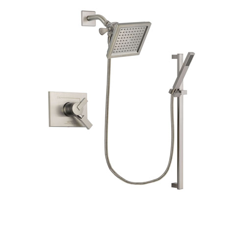 Delta Vero Stainless Steel Finish Dual Control Shower Faucet System Package with 6.5-inch Square Rain Showerhead and Modern Personal Hand Shower with Slide Bar Includes Rough-in Valve DSP2360V
