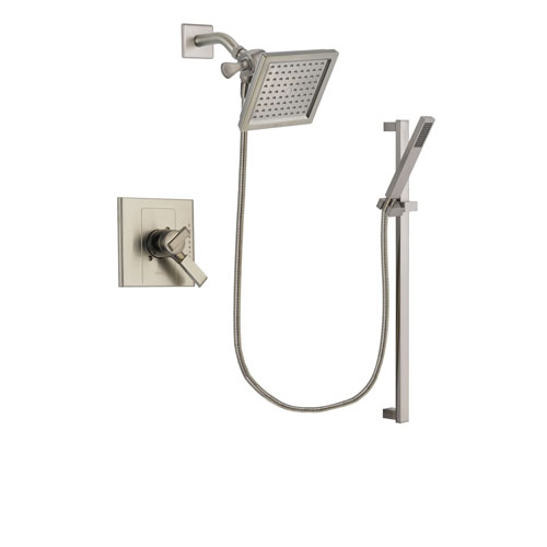 Delta Arzo Stainless Steel Finish Dual Control Shower Faucet System Package with 6.5-inch Square Rain Showerhead and Modern Personal Hand Shower with Slide Bar Includes Rough-in Valve DSP2362V