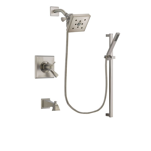 Delta Dryden Stainless Steel Finish Thermostatic Tub and Shower Faucet System Package with Square Shower Head and Modern Personal Hand Shower with Slide Bar Includes Rough-in Valve and Tub Spout DSP2363V