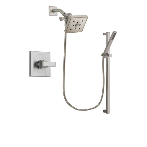 Delta Arzo Stainless Steel Finish Shower Faucet System Package with Square Shower Head and Modern Personal Hand Shower with Slide Bar Includes Rough-in Valve DSP2374V