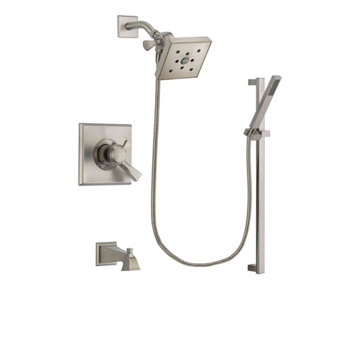 Delta Dryden Stainless Steel Finish Dual Control Tub and Shower Faucet System Package with Square Shower Head and Modern Personal Hand Shower with Slide Bar Includes Rough-in Valve and Tub Spout DSP2375V