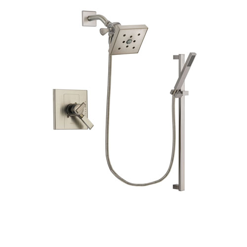 Delta Arzo Stainless Steel Finish Dual Control Shower Faucet System Package with Square Shower Head and Modern Personal Hand Shower with Slide Bar Includes Rough-in Valve DSP2380V