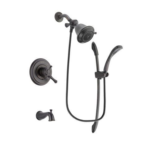 Delta Cassidy Venetian Bronze Finish Dual Control Tub and Shower Faucet System Package with Shower Head and 1-Spray Handshower with Slide Bar Includes Rough-in Valve and Tub Spout DSP2409V