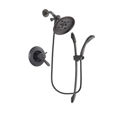 Delta Lahara Venetian Bronze Finish Thermostatic Shower Faucet System Package with Large Rain Shower Head and 1-Spray Handshower with Slide Bar Includes Rough-in Valve DSP2442V