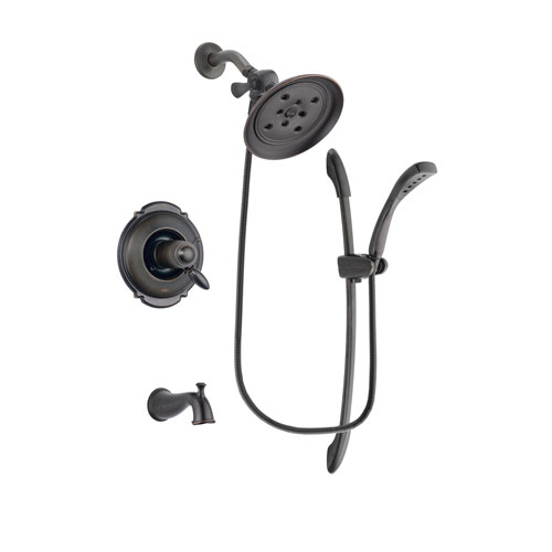 Delta Victorian Venetian Bronze Finish Thermostatic Tub and Shower Faucet System Package with Large Rain Shower Head and 1-Spray Handshower with Slide Bar Includes Rough-in Valve and Tub Spout DSP2443V