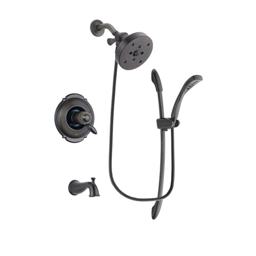 Delta Victorian Venetian Bronze Finish Thermostatic Tub and Shower Faucet System Package with 5-1/2 inch Showerhead and 1-Spray Handshower with Slide Bar Includes Rough-in Valve and Tub Spout DSP2473V