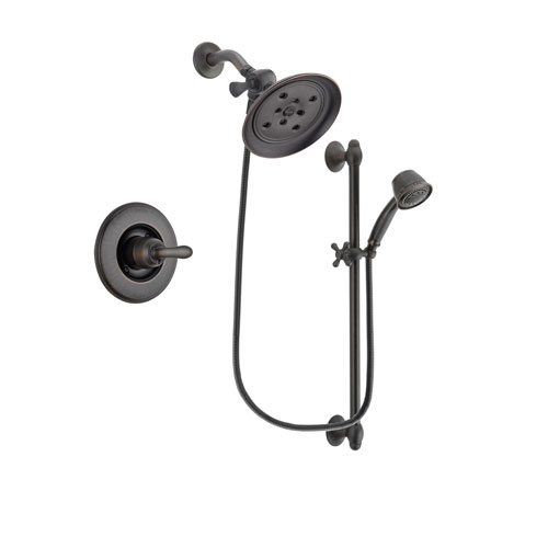 Delta Linden Venetian Bronze Finish Shower Faucet System Package with Large Rain Shower Head and 5-Spray Personal Handshower with Slide Bar Includes Rough-in Valve DSP2578V
