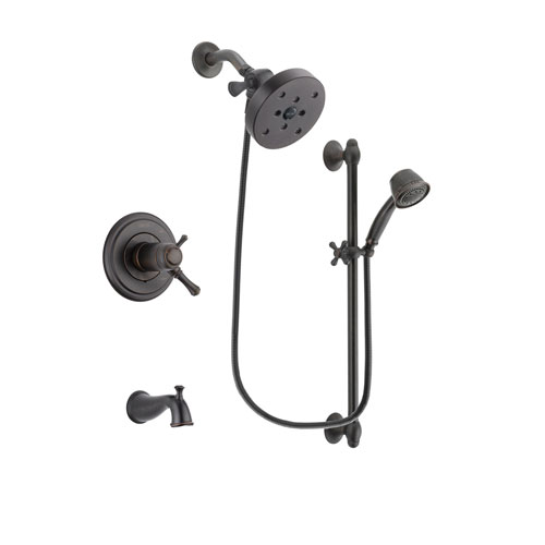 Delta Cassidy Venetian Bronze Finish Thermostatic Tub and Shower Faucet System Package with 5-1/2 inch Showerhead and 5-Spray Personal Handshower with Slide Bar Includes Rough-in Valve and Tub Spout DSP2599V