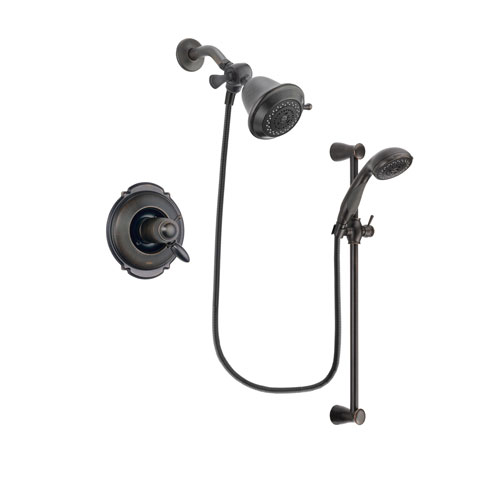Delta Victorian Venetian Bronze Finish Thermostatic Shower Faucet System Package with Shower Head and Personal Handheld Shower Spray with Slide Bar Includes Rough-in Valve DSP2624V