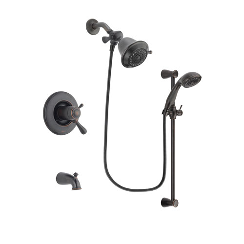 Delta Leland Venetian Bronze Finish Thermostatic Tub and Shower Faucet System Package with Shower Head and Personal Handheld Shower Spray with Slide Bar Includes Rough-in Valve and Tub Spout DSP2625V