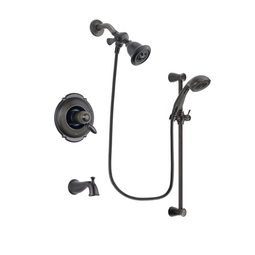 Delta Victorian Venetian Bronze Finish Thermostatic Tub and Shower Faucet System Package with Water Efficient Showerhead and Personal Handheld Shower Spray with Slide Bar Includes Rough-in Valve and Tub Spout DSP2653V