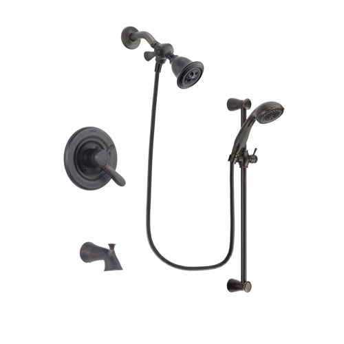 Delta Lahara Venetian Bronze Finish Dual Control Tub and Shower Faucet System Package with Water Efficient Showerhead and Personal Handheld Shower Spray with Slide Bar Includes Rough-in Valve and Tub Spout DSP2669V