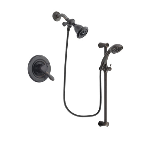 Delta Lahara Venetian Bronze Finish Dual Control Shower Faucet System Package with Water Efficient Showerhead and Personal Handheld Shower Spray with Slide Bar Includes Rough-in Valve DSP2670V