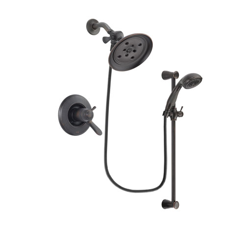 Delta Lahara Venetian Bronze Finish Thermostatic Shower Faucet System Package with Large Rain Shower Head and Personal Handheld Shower Spray with Slide Bar Includes Rough-in Valve DSP2682V