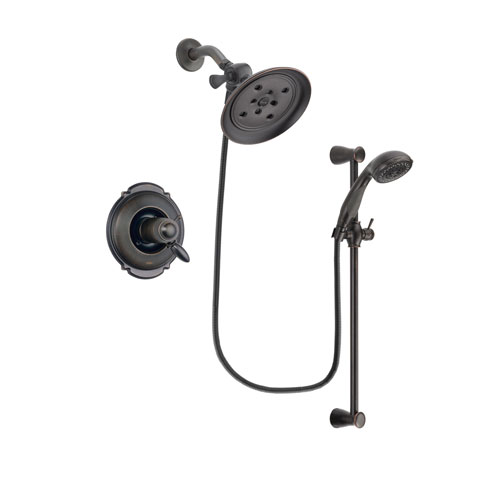 Delta Victorian Venetian Bronze Finish Thermostatic Shower Faucet System Package with Large Rain Shower Head and Personal Handheld Shower Spray with Slide Bar Includes Rough-in Valve DSP2684V