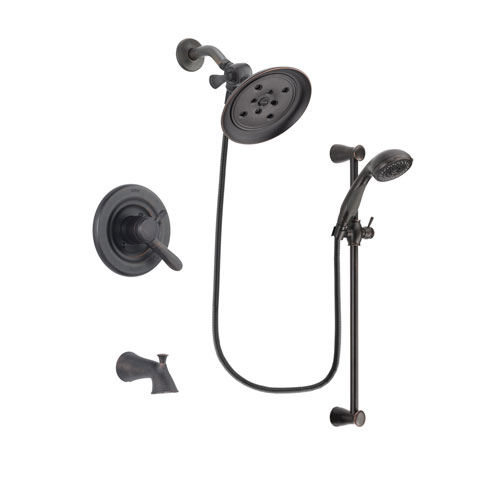 Delta Lahara Venetian Bronze Finish Dual Control Tub and Shower Faucet System Package with Large Rain Shower Head and Personal Handheld Shower Spray with Slide Bar Includes Rough-in Valve and Tub Spout DSP2699V