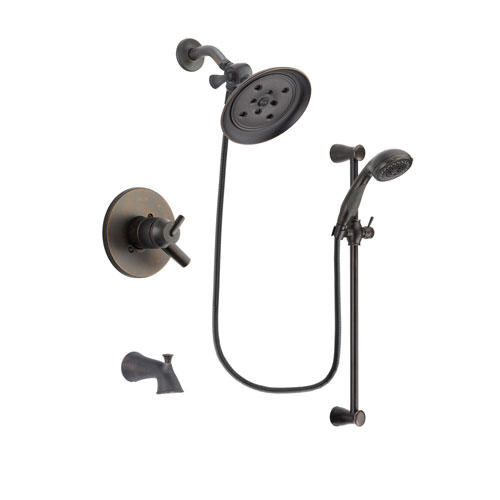 Delta Trinsic Venetian Bronze Finish Dual Control Tub and Shower Faucet System Package with Large Rain Shower Head and Personal Handheld Shower Spray with Slide Bar Includes Rough-in Valve and Tub Spout DSP2701V