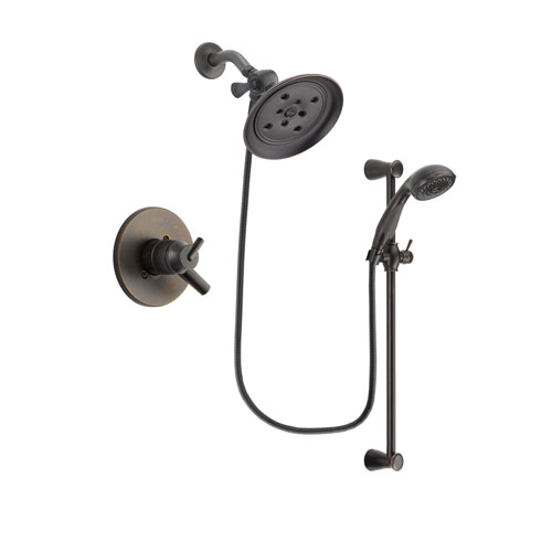 Delta Trinsic Venetian Bronze Finish Dual Control Shower Faucet System Package with Large Rain Shower Head and Personal Handheld Shower Spray with Slide Bar Includes Rough-in Valve DSP2702V