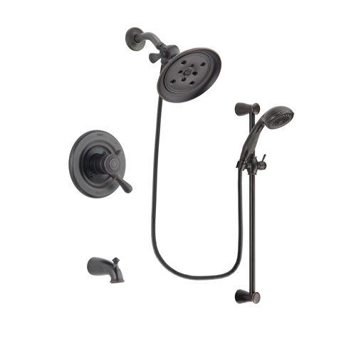 Delta Leland Venetian Bronze Finish Dual Control Tub and Shower Faucet System Package with Large Rain Shower Head and Personal Handheld Shower Spray with Slide Bar Includes Rough-in Valve and Tub Spout DSP2703V