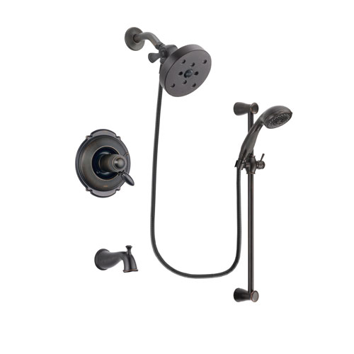 Delta Victorian Venetian Bronze Finish Thermostatic Tub and Shower Faucet System Package with 5-1/2 inch Showerhead and Personal Handheld Shower Spray with Slide Bar Includes Rough-in Valve and Tub Spout DSP2713V