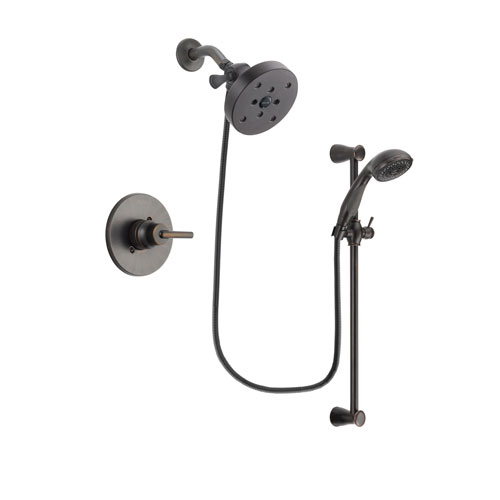 Delta Trinsic Venetian Bronze Finish Shower Faucet System Package with 5-1/2 inch Showerhead and Personal Handheld Shower Spray with Slide Bar Includes Rough-in Valve DSP2724V