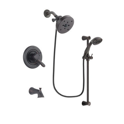 Delta Lahara Venetian Bronze Finish Dual Control Tub and Shower Faucet System Package with 5-1/2 inch Showerhead and Personal Handheld Shower Spray with Slide Bar Includes Rough-in Valve and Tub Spout DSP2729V