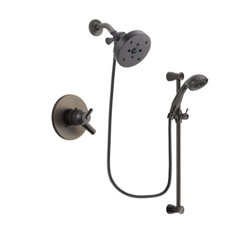 Delta Trinsic Venetian Bronze Finish Dual Control Shower Faucet System Package with 5-1/2 inch Showerhead and Personal Handheld Shower Spray with Slide Bar Includes Rough-in Valve DSP2732V