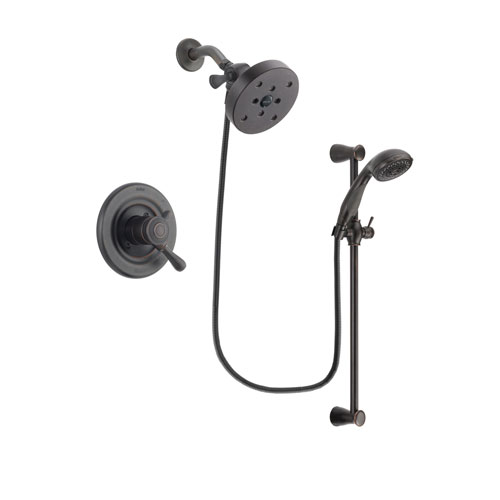 Delta Leland Venetian Bronze Finish Dual Control Shower Faucet System Package with 5-1/2 inch Showerhead and Personal Handheld Shower Spray with Slide Bar Includes Rough-in Valve DSP2734V