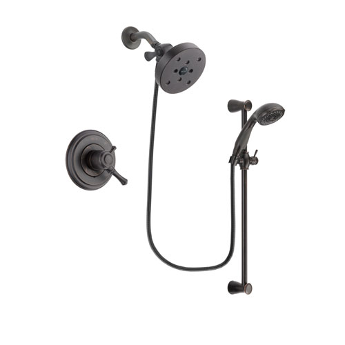 Delta Cassidy Venetian Bronze Finish Dual Control Shower Faucet System Package with 5-1/2 inch Showerhead and Personal Handheld Shower Spray with Slide Bar Includes Rough-in Valve DSP2740V