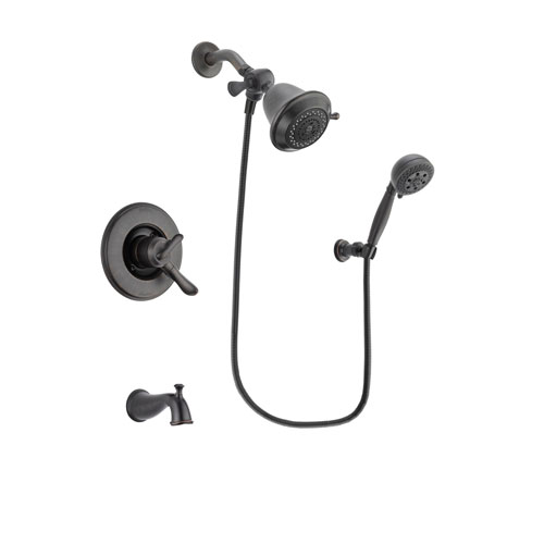 Delta Linden Venetian Bronze Finish Dual Control Tub and Shower Faucet System Package with Shower Head and 5-Setting Wall Mount Personal Handheld Shower Spray Includes Rough-in Valve and Tub Spout DSP2767V