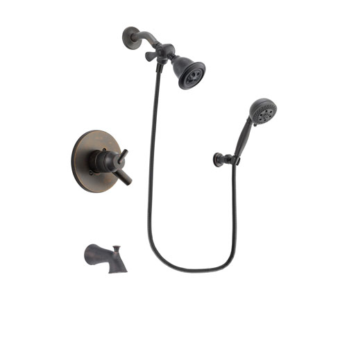 Delta Trinsic Venetian Bronze Finish Dual Control Tub and Shower Faucet System Package with Water Efficient Showerhead and 5-Setting Wall Mount Personal Handheld Shower Spray Includes Rough-in Valve and Tub Spout DSP2791V