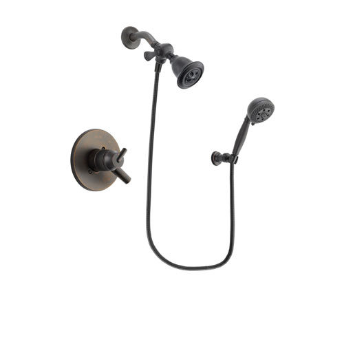 Delta Trinsic Venetian Bronze Finish Dual Control Shower Faucet System Package with Water Efficient Showerhead and 5-Setting Wall Mount Personal Handheld Shower Spray Includes Rough-in Valve DSP2792V